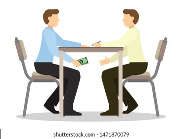 Businessman passing cash money under the table to his corrupted partner. Business bribery and kickback corruption concept.