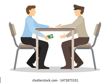 Businessman passing cash money under the table to his corrupted officer. Business bribery and kickback corruption concept.