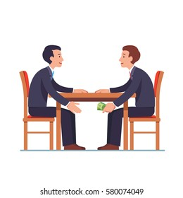 Businessman passing cash money under the table to his corrupted partner. Business bribery and kickback corruption concept. Flat style modern vector illustration isolated on white background.