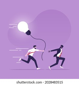 Businessman passing the idea to another person, worker passing a job, task, and idea to another to continue working on it