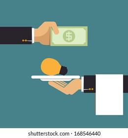 Businessman pay money for light bulb idea, Business idea