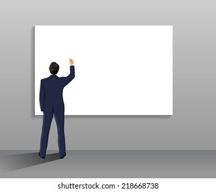 Businessman with pen in right hand full length back in front of white board vector illustration