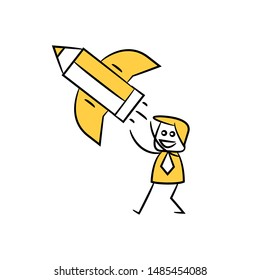 businessman and pencil rocket icon for creativity concept yellow stick figure