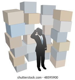 Businessman person with inventory problem in stacks of shipping boxes cartons.