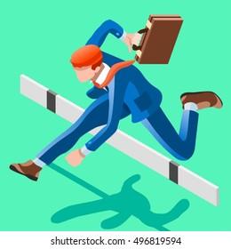 Businessman person win job concept infographic vector design. 3D man person. Job ambition isometric people businessman. People job hurdle jump businessman race. Isometric Business man character