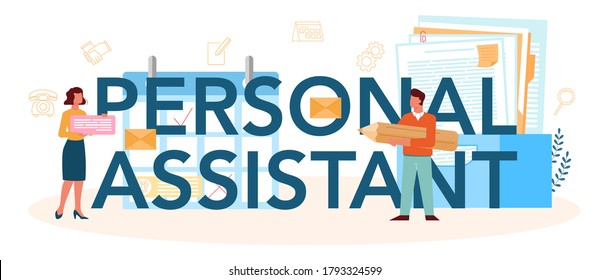 Businessman personal assistant typographic header. Professional help and support for manager. Worker answering calls and assisting with document. Isolated flat vector illustration