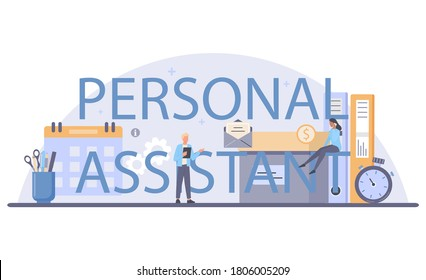 Businessman personal assistant typographic header. Professional help and support for manager. Worker day planning and paperwork and meetings assisting. Isolated flat vector illustration