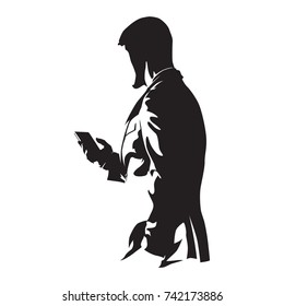 Businessman with phone, man in suit holding mobile, abstract vector silhouette