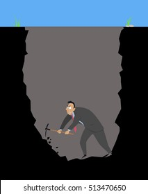 Businessman with a pickaxe digging himself into a hole, EPS 8 vector illustration