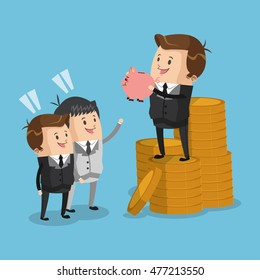businessman piggy coin male cartoon suit business icon. Colorful and flat design. Vector illustration