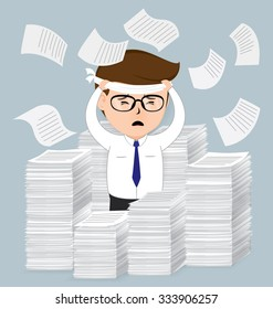 Businessman with pile of paper, business concept, vector 10