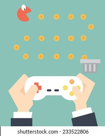 businessman play game pacman - Self Development  and layoff concept