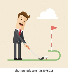 Businessman play golf.   Illustration,  vector EPS 10.