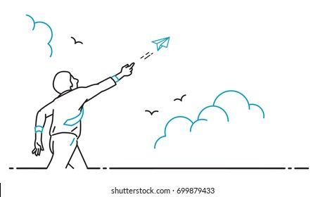 Businessman playing with flying paper origami airplane, flying into the sky, business concept of dream, freedom, startup, inspiration. Outline, thin line art, hand drawn, sketch style, simple design.