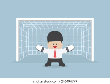 Businessman playing goalkeeper standing in front of goal ready to block the ball, VECTOR, EPS10