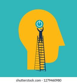 Businessman plugin a brain. Concept business vector illustration - Vector