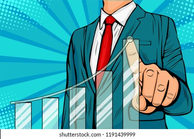 Businessman pointing arrow graph corporate future growth plan. Business concept of development to success and growing growth. Vector illustration in pop art retro comic style