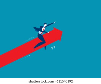 Businessman pointing and driving arrow upward. Concept success business illustration. Vector cartoon character and abstract