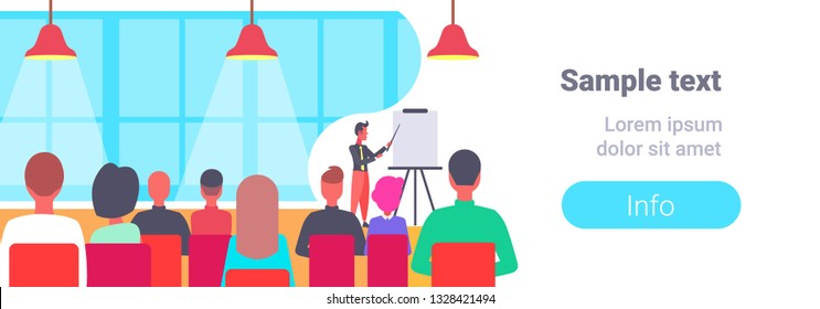 businessman pointing flip chart conference meeting presentation concept business man team leader training courses horizontal copy space flat