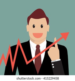 Businessman pointing at growth graph. Business concept