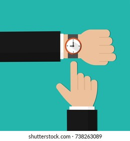 Businessman pointing at his watch. Businessman showing time on his watch. Finger points to the clock. Flat design, vector illustration, vector.