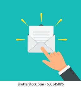 businessman pointing or press on the email to open vector