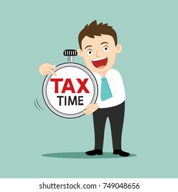 Businessman pointing at tax time, tax concept