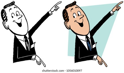 A businessman pointing in two directions.