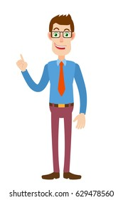 Businessman pointing up. Full length portrait of Cartoon Businessman Character. Vector illustration in a flat style.