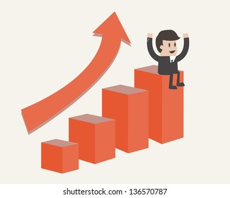 businessman points to chart of profit