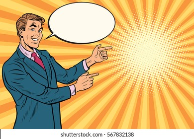 Businessman points right to copy space background, pop art retro vector. Beautiful promo man
