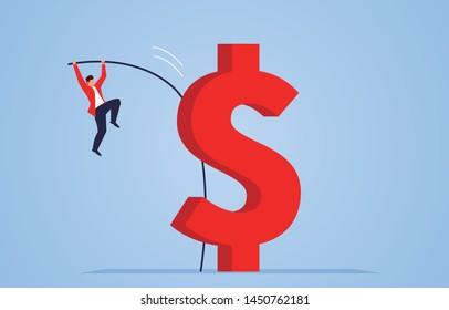 Businessman pole vault jumping dollar