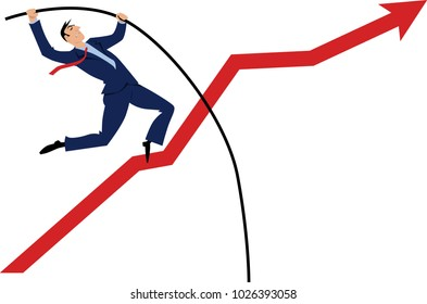 Businessman pole vaulting over a rising graph, EPS 8 vector illustration