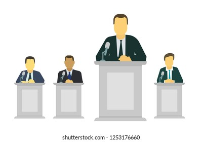 Businessman or politician making speech behind the pulpit before a microphone. On the rostrum.
