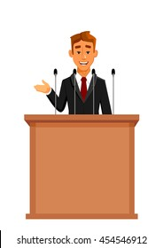 Businessman or politician in suit at tribune with microphones making a speech. Orator or narrator, spokesman or leader at debates or presentation for audience. Business meeting or conference theme