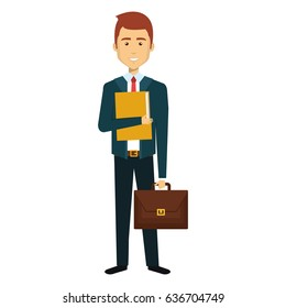 businessman with portfolio avatar character icon
