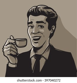 businessman posing with cup of coffee, happy man, character, drinking coffee, vector illustration