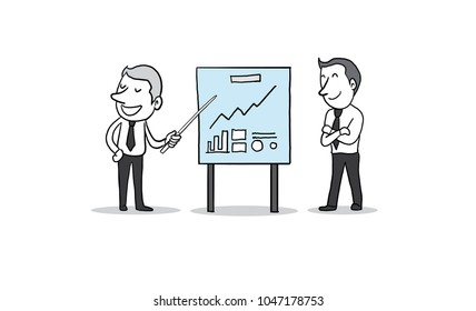 Businessman with presentation chart board. conference, training, planning, learning, coaching, presentation concept. isolated vector illustration hand drawn doodle cartoon design character