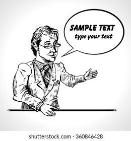 Businessman presentation gesture hands business concept comics retro style. Hand drawn sketch illustration