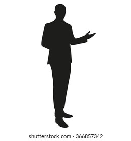 Businessman presentation. Vector silhouette