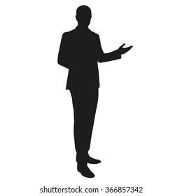 Businessman presentation. Vector silhouette