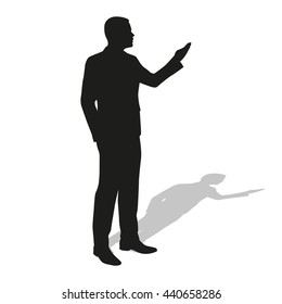 Businessman presentation. Vector silhouette. Standing man. Teacher, leader, lawyer, manager