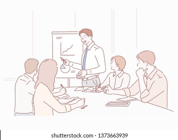 Businessman presenting to colleagues at a meeting. Hand drawn style vector design illustrations.