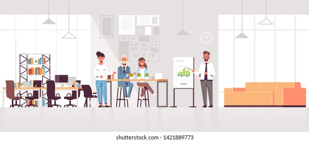 businessman presenting financial graph on flip chart to businesspeople team at conference meeting training presentation concept modern co-working space office interior full length horizontal