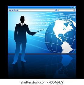 Businessman presenting Internet Browser with Globe Original Vector Illustration
