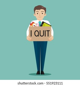 Businessman presenting i quit word , vector illustration cartoon