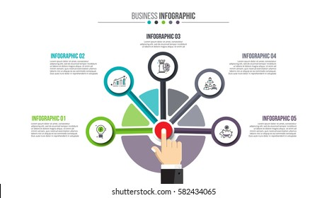 Businessman pressing button on a virtual background. Circle line infographic. Business concept with 5 options, parts, steps or processes.