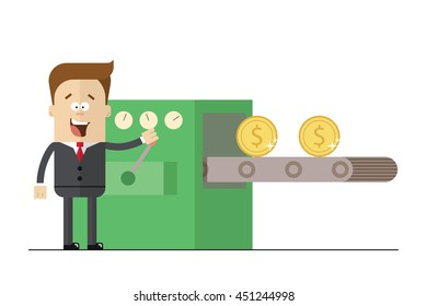 Businessman prints wads of money on the line. Happy man in a business suit and tie near the machine for the production of money. Man easily earns. Isolated illustration white background . Flat picture