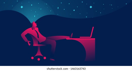 Businessman procrastinating, being lazy, distracted or daydreaming at office. business concept in red and blue neon gradients