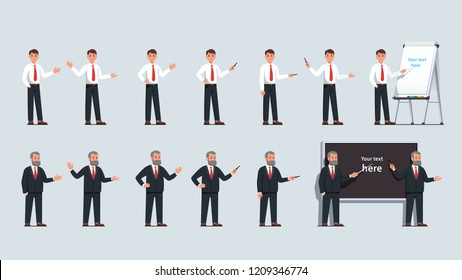 Businessman professor stand, gesture, point at whiteboard flipchart with pointer stick, pen & hands. Business man presentation, teacher lecture poses next to blackboard. Flat vector illustration set